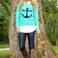 Anchored To You Sweater-Turquoise