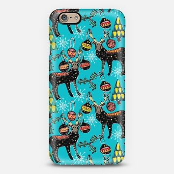 festive deer blue iPhone 6 case by Sharon Turner | Casetify