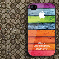 iphone 4 case iphone 4s case iphone 4 cover black iphone colorized wood texture Iphone Logo design printing