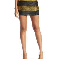 Looped Metallic Mini Skirt