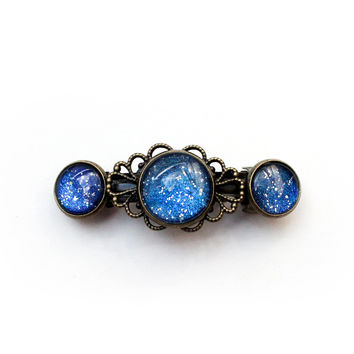 Celestial Barrette starry night hair clip with silver and blue glitter - antique look hair accessory