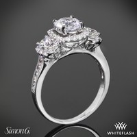 18k White Gold Simon G NR464 Three Stone Passion Diamond Engagement Ring