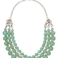 Layered turquoise bead statement necklace