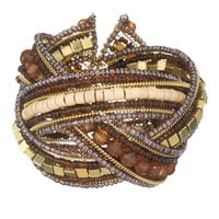 Criss cross beaded cuff bracelet