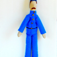 OOAK Plush Doll: Police with Blue Suit and Helmet