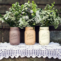 Cafe - Coffee and Tea Canisters - Painted Mason Jars - Home and Kitchen Decor - Rustic
