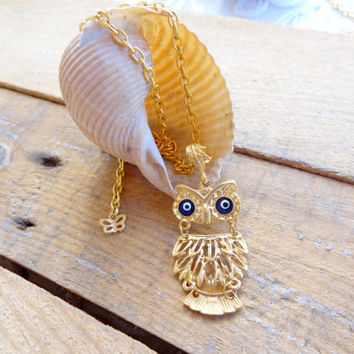 Gold Owl Necklace, Evil Eye Owl Necklace, Gifts for Her, Best Friend Birthday, Flower Girl Jewelry