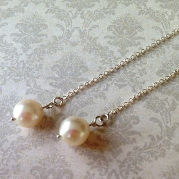 White Sea Pearl Earrings, Sterling Silver Ear Threads, Handmade Bridal