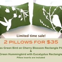 Limited Time Sale 2 Grass Green Bird Pillows for 35 READY TO SHIP