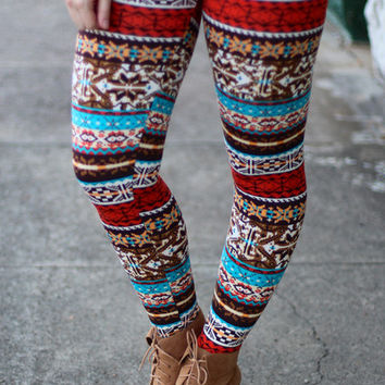 Tribal Bliss Fleece Leggings {Multi Print}