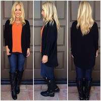 Black open knit CARDIGAN