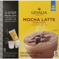 Gevalia Mocha Latte Espresso Coffee Cups & Froth Packets (9 Count Box)
