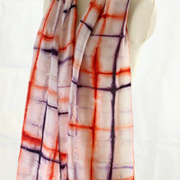Purple blue and Red orange Naturally dyed Shibori Habotai 8m silk scarf, hand dyed with Logwood and Madder with a Geometric pattern