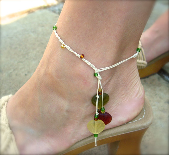 Natural Braided Hemp Anklet with Amber, Yellow and Green Glass Seed and Leaf Beads