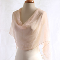 Powder Pink naturally dyed chiffon silk scarf, hand dyed with Madder giving this light romantic powder pink shade