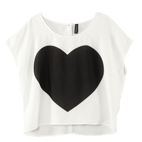 Heart-printed Back-buckle Woven Short-sleeved T-shirt - Sheinside.com