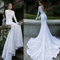 Super soft, very feminine, cut out back, long sleeves wedding dress