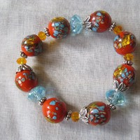 Orange Blue Lampwork Bead Bracelet Handmade on Handmade Artists&#x27; Shop