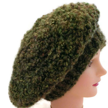 Handmade Green with Subtle Hints of Red Warm Fuzzy Hat,  Winter Hat, Snow Hat, Slouchy, French Beret