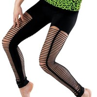 Black Slashed Seamless Dance Leggings - Balera