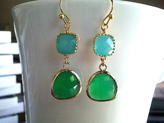 Palace Green Summer Gold Earrings - SILVER OR GOLD