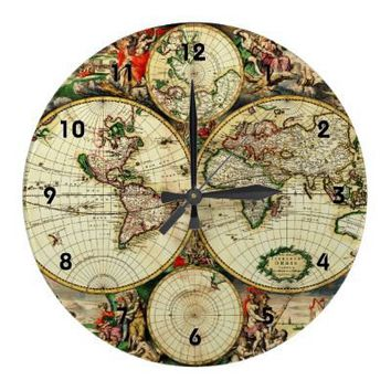 Old World Map 1689 ~ Antique Travel Artwork Round Wallclocks from Zazzle.com