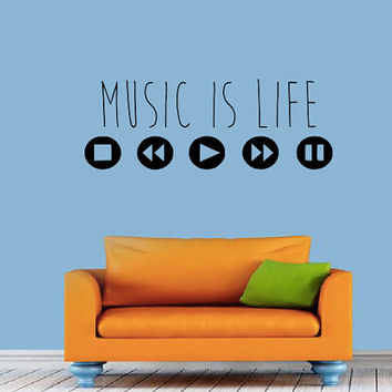 Music Is Life Wall Decal - Quote - DJ Decal - Equalizer - Music - MacBook - Studio Decor - High Quality Vinyl Graphic
