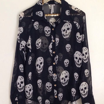 Sheer Skull Blouse