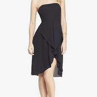STRAPLESS DRAPE FRONT MIDI DRESS from EXPRESS