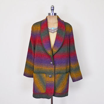 Southwestern Jacket Southwestern Coat Southwestern Blazer Southwest Jacket Stripe Blanket Wool Oversize Jacket 80s 90s L XL Extra Large