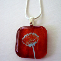 Necklace Art Pendant Wish Upon A Dandelion Tangerine Blue