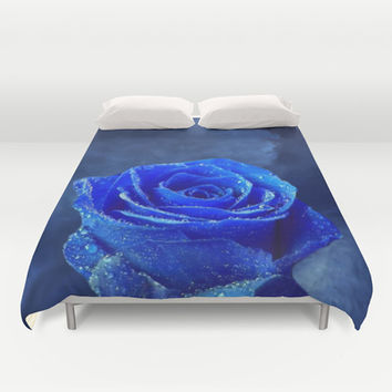 Blue Rose and Blue Sky Duvet Cover by Erika Kaisersot