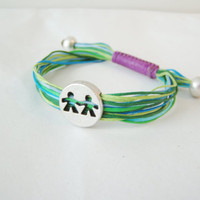 Boy -Girl adjustable bracelet with mult-i coloured waxed cords