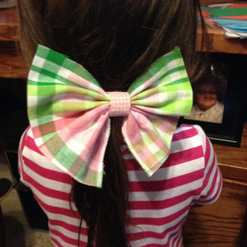Plaid Hair Bow/Pink and Green Hair Bow/AKA Hair Bow
