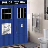 police box ,tardis dr who door specials custom shower curtains that will make your bathroom adorable.