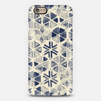 Hand Painted Triangle & Honeycomb Ink Pattern - indigo & cream iPhone 6 case by Micklyn Le Feuvre | Casetify