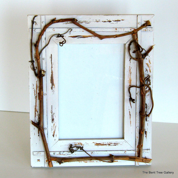 Shabby Chic Picture Frame with Wild Grapevine Embellishment