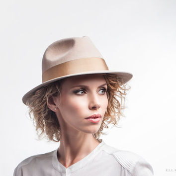 Tan Beige Velour Fedora - Sand Felt Hat - Unisex Accessories - Medium Brim - Classy Autumn Accessory - Handmade Trilby - AW14/15