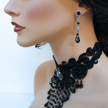 Black Teardrop Dangle Earrings, Victorian Earrings, Victorian Jewelry, Gift Idea for Her