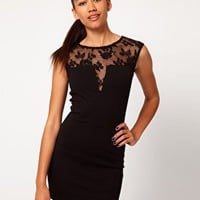 River Island Lace Shoulder Bodycon Dress at asos.com