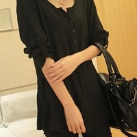 Loose O Neck Solid Cotton Long Sleeve Blouses For Women