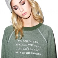 Wildfox Couture Call Me Anytime Kim's Sweater Pine