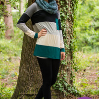 Colorblock Top, Dark Green/Grey