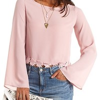 Crocheted Daisy Trim Bell Sleeve Crop Top - Dusty Rose
