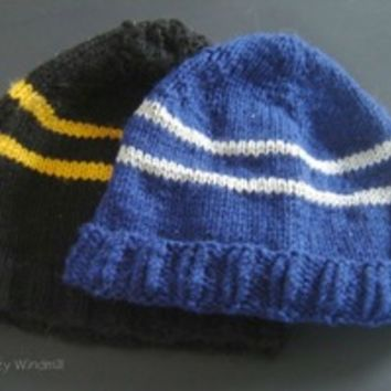 Hogwarts style striped beanie from The Dizzy Windmill