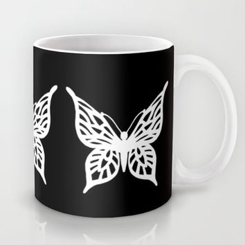 Butterfly White on Black Mug by Project M | Society6