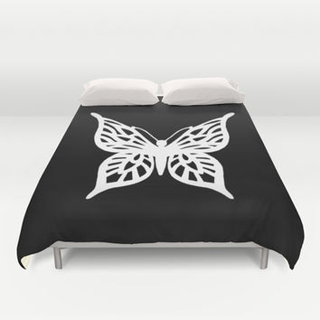 Butterfly White on Black Duvet Cover by Project M | Society6