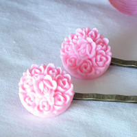 Round Pink Lucite Flowers Antique Brass Bobby Pins