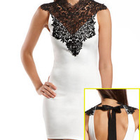 Delicate Lace-Top Body-Con Dress