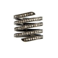 LYNN BAN BLACK SILVER AND GREY DIAMONDS FOUR ROWS RING